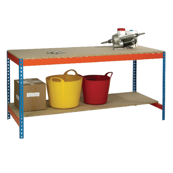 Image for Blue and Orange Workbench With Lower Shelf L1800xW900xD900mm 378932