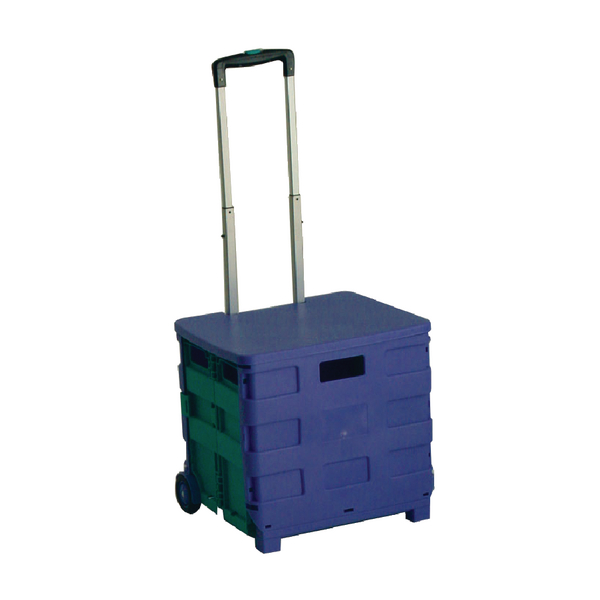 Image for Folding Container Trolley With Lid Blue /Green 379531