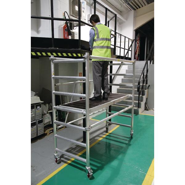 Image for Folding Scaffold 1780x740mm 3 Handrail Platform Silver 383445