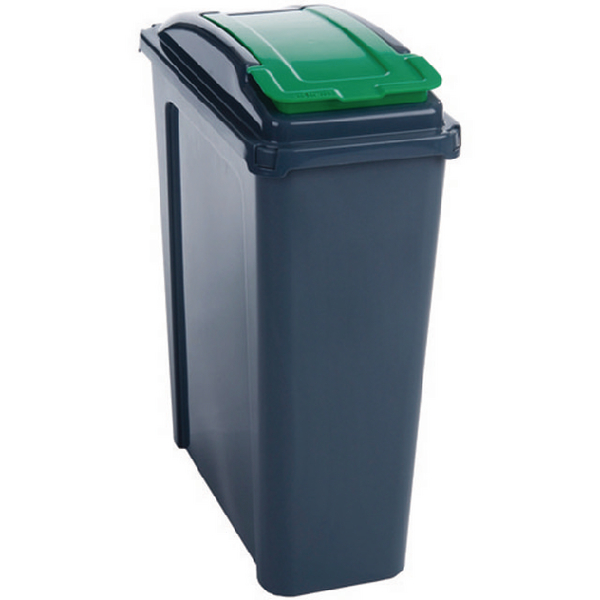 VFM Recycling Bin With Lid 25 Litre Green 384284