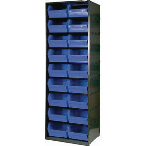Metal Bin Cupboard With 18 Polypropylene Bins Dark Grey Black 371832