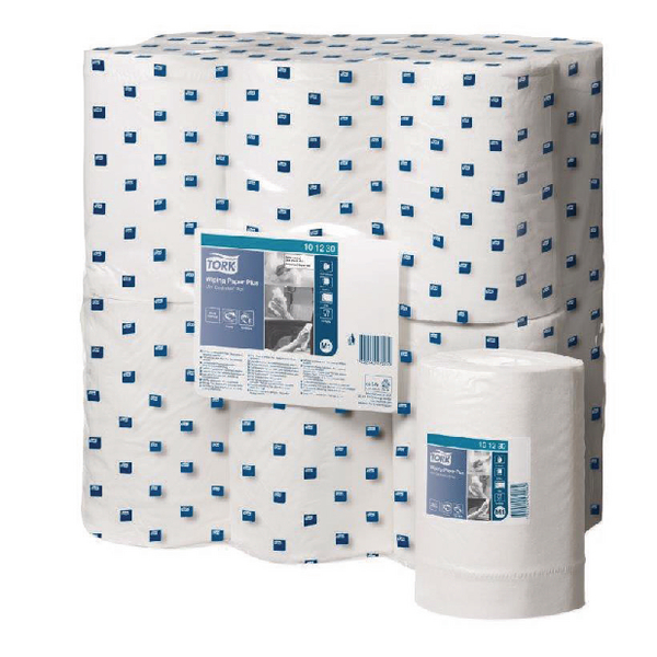 Tork White Wiping Paper Plus MiniCentrefeed Roll 2-Ply (Pack of 12) 101230