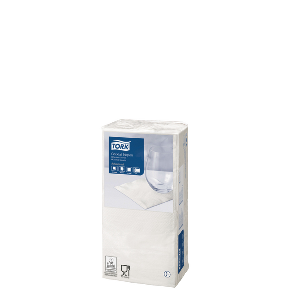 Tork Cocktail Napkins 2-Ply White (Pack of 200) 477534