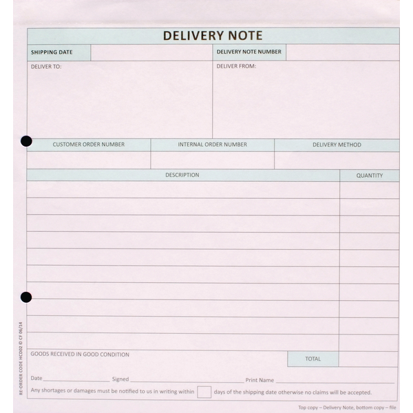 Custom Forms 2-Part Delivery Note White/Pink (Pack of 50) HCD02