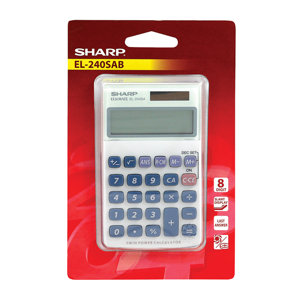 Image for Sharp Silver 8-Digit Hand Held Pocket Calculator EL240SAB