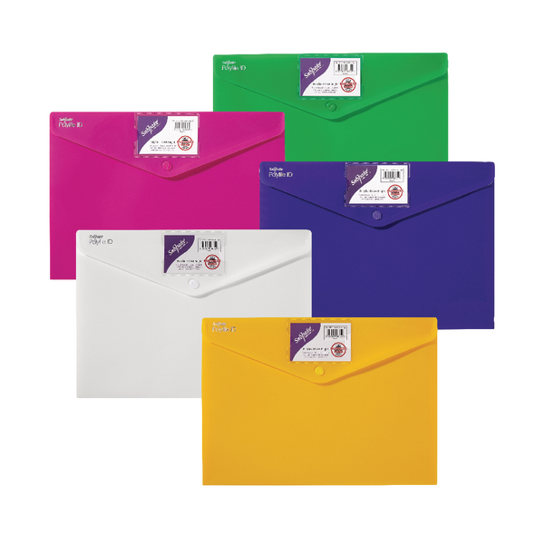 Snopake Polyfile ID Wallet A4 Assorted Bright Colours (Pack of 5) 12565