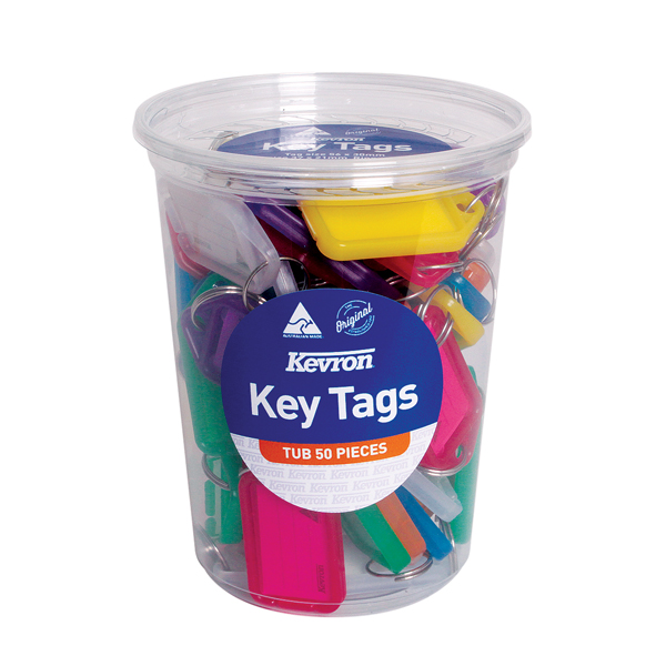 Kevron Standard Key Tags Assorted (Pack of 50) ID5TUB50ASST