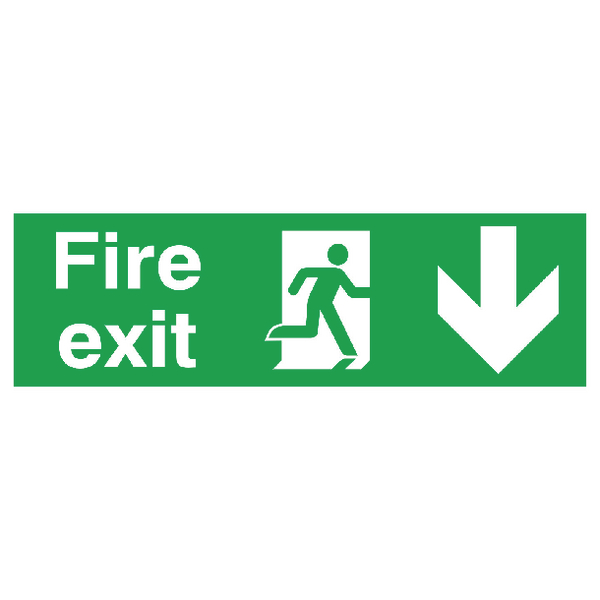 Safety Sign Fire Exit Running Man Arrow Down 150x450mm PVC FX04211R