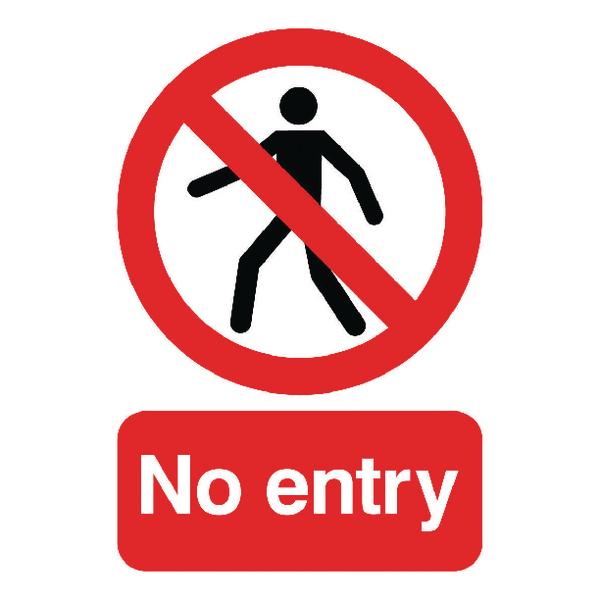 Warning Sign No Entry A5 Self-Adhesive ML01751S
