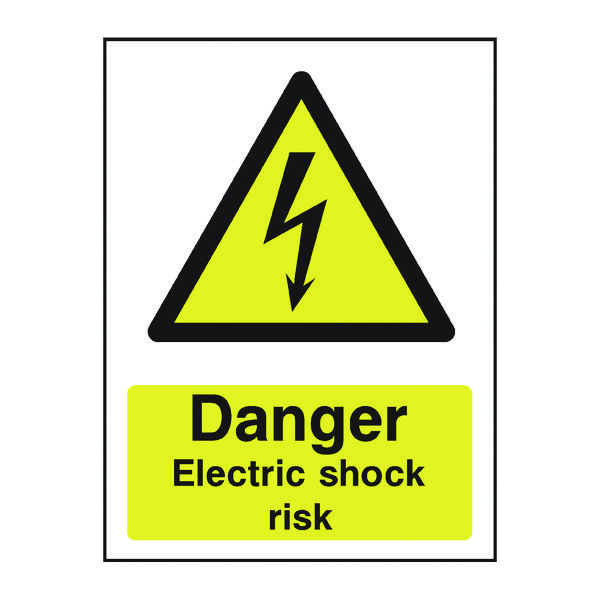 Safety Sign Danger Electric Shock Risk A5 PVC HA10751R