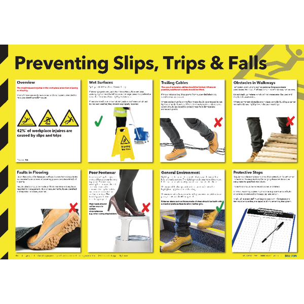 Health and Safety Wallchart - Preventing Slips Trips and Falls FAD130