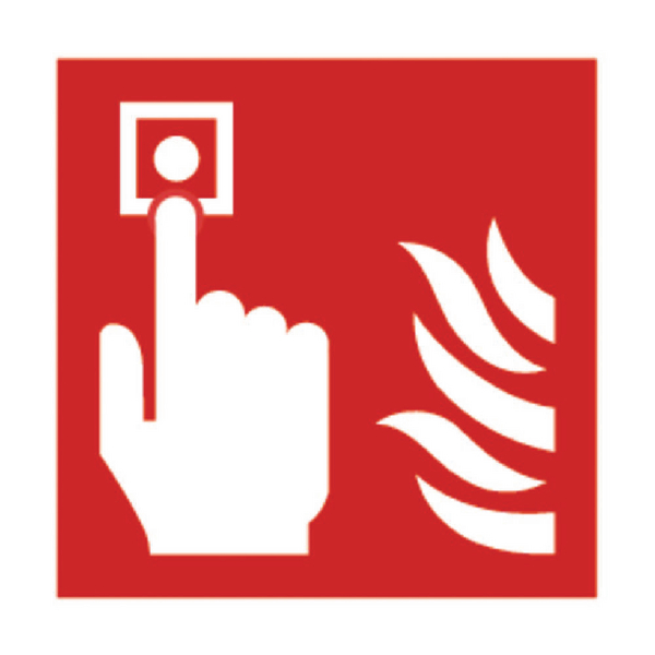 Safety Sign Fire Alarm 100x100mm Self-Adhesive (Pack of 5) KF68B/S