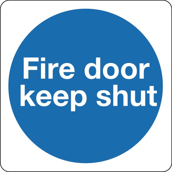 Fire Door Keep Shut 100mm Self-Adh Sign