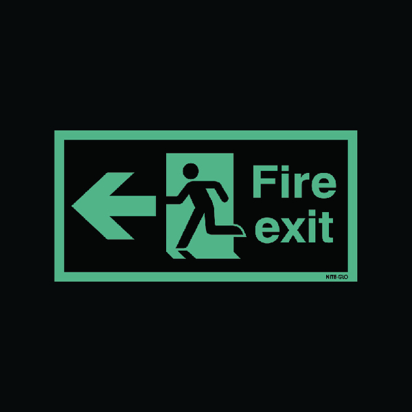 Safety Sign Niteglo Fire Exit Running Man Arrow Left 150x450mm Self-Adhesive NG27A/S