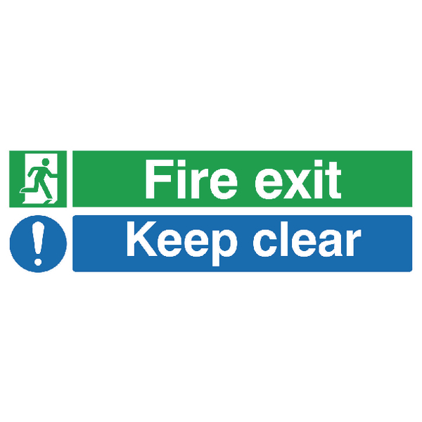 SIGN FIRE EXIT KEEP CLEAR 15X45 PVC
