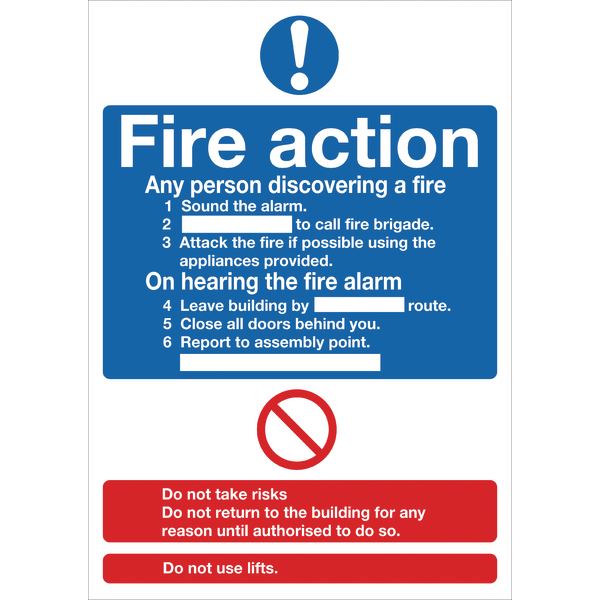 Safety Sign Fire Action Words A4 Self Adhesive FR03550S