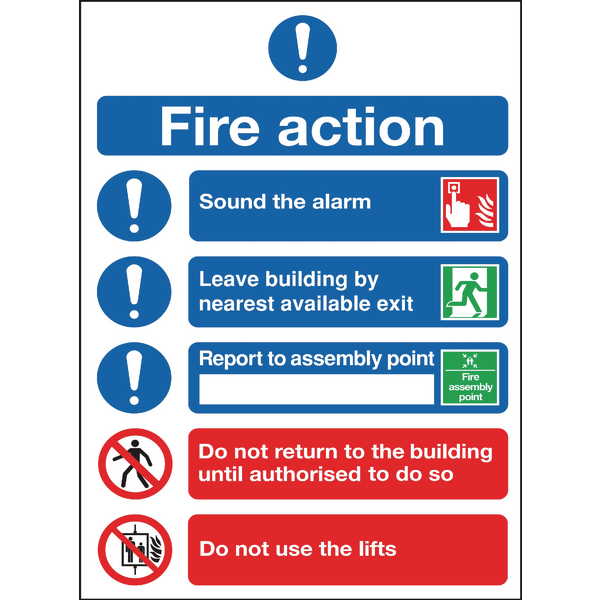 Safety Sign Fire Action Symbols A4 Self Adhesive FR09950S