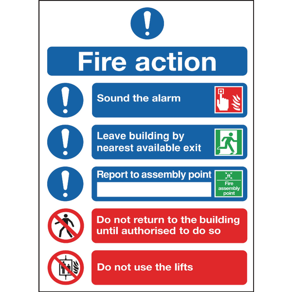 SAFETY SIGN FIRE ACTION SYMBOLS A4 PVC