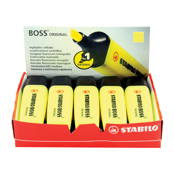 10 x Stabilo Boss Original Highlighter Yellow (Wedge tip for line width: 2.0 - 5.0mm) 70/24/10