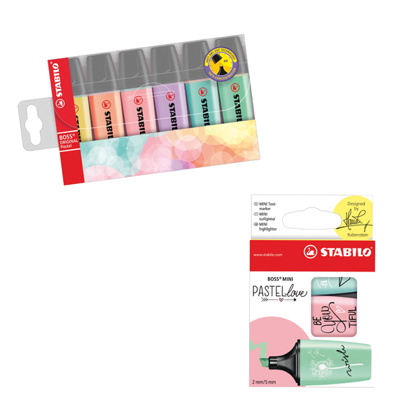 Stabilo Highlighters Assorted Pastel (Pack of 6) FOC (Pack of 3) Pastellove Highlighters