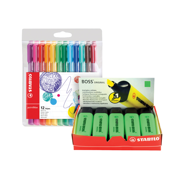 Stabilo Boss Highlighter Green (Pk 10) FOC Fibre Tip Pen (Pk 4)