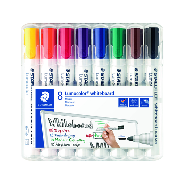 Staedtler Lumocolor 351 Drywipe Assorted Pack of 8 351 WP8