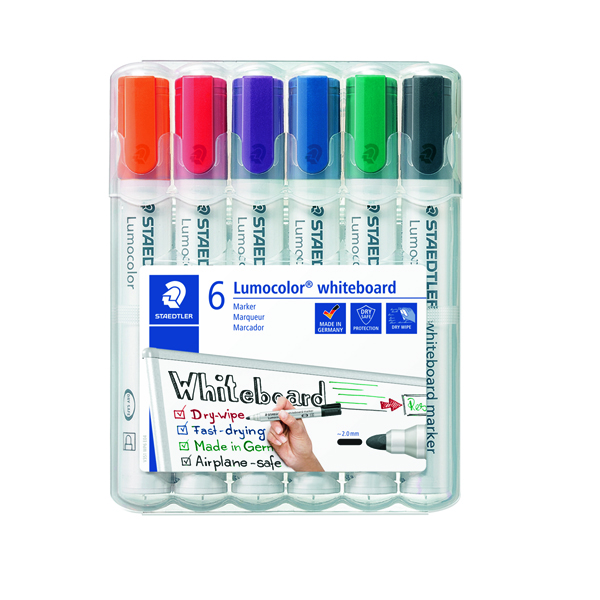 Staedtler Lumocolor 351 Drywipe Assorted Pack of 6 351 WP6