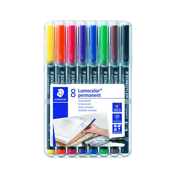 Staedtler Lumocolor Fine Tip Permanent OHP Pen Assorted (Pack of 8) 318-WP8