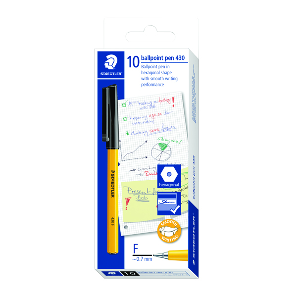 Staedtler 430 F Stick Ballpoint Pen Fine Black (Pack of 10) 430-F9