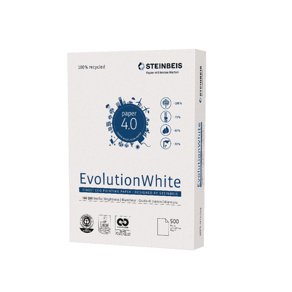 Steinbeis EvolutionWhite Recycled A4 Copier Paper 80gsm White (Pack of 2500) K1701201080A