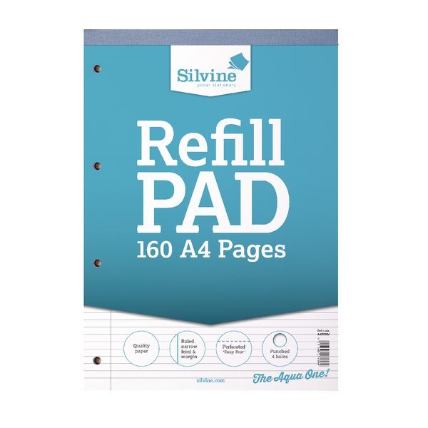 Silvine Narrow Feint Ruled Headbound Refill Pad 160 Pages A4 (Pack of 6) A4RPNM
