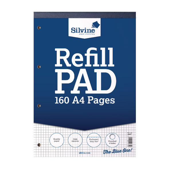 Silvine 80 Leaf Ruled 5mm Square Refill A4 Pad (Pack of 6) A4RPX