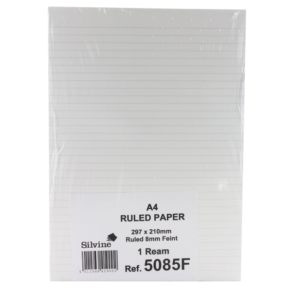 Silvine A4 Sheets Unpunched Ruled Paper