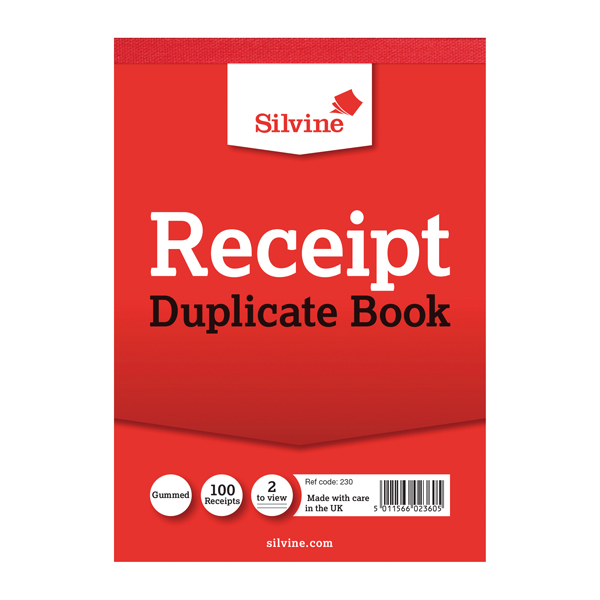 Image for Silvine Duplicate Receipt Book 105x148mm Gummed (Pack of 12) 230
