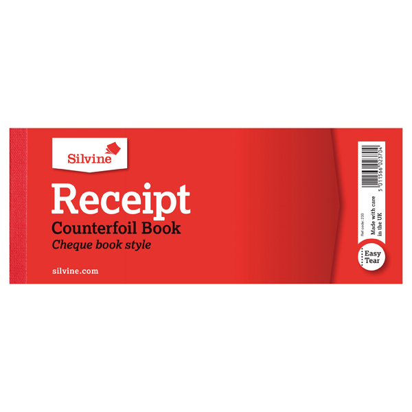 Image for Silvine Receipt Book 80x202mm With Counterfoil (Pack of 36) 233