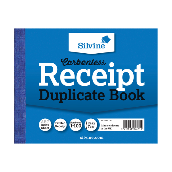 Image for Silvine Carbonless Duplicate Receipt Book 102x127mm (Pack of 12) 720-T