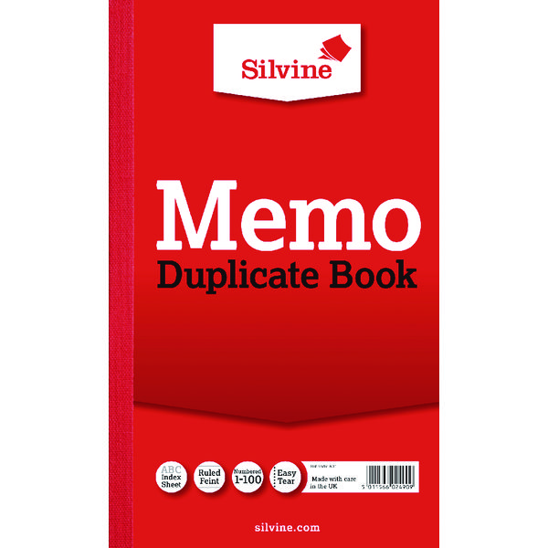 Image for Silvine Duplicate Book 210x127mm Memo Ruled (Pack of 6) 601