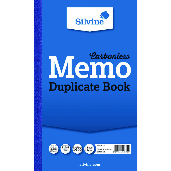 Image for Silvine Carbonless Duplicate Memo Book 210x127mm NCR (Pack of 6) 701-T