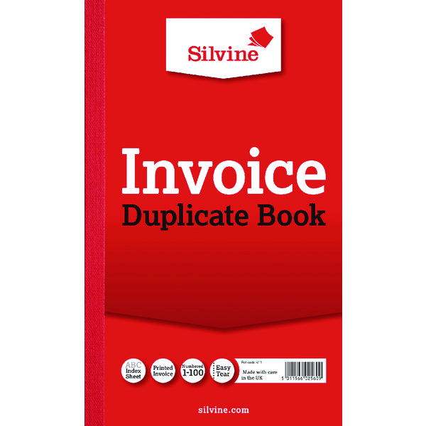 Silvine Duplicate Invoice Book 210x127mm (Pack of 6) 611