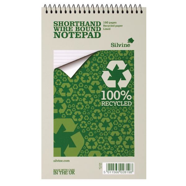 Image for Silvine Spiral Bound Shorthand Notebook Recycled 127x203mm 80 Leaf Ruled (Pack of 12) RE160-T