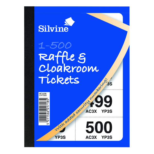 Cloakroom and Raffle Tickets 1-500 (Pack of 12) CRT500