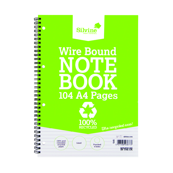 Silvine Everyday Recycled Wirebound Notebook 104 Pages A4 (Pack of 12) TWRE80
