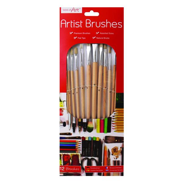 Work of Art Natural Bristle Artist Brushes Flat Tip (Pack of 12)