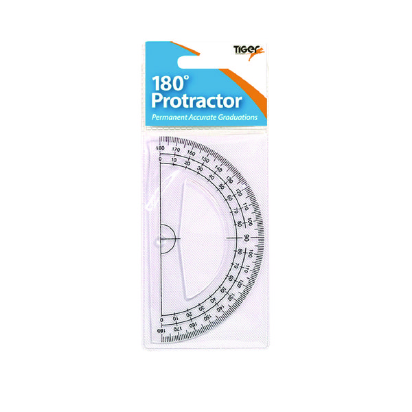 Tiger 180 Degree Clear Plastic Protractor (Pack of 12)