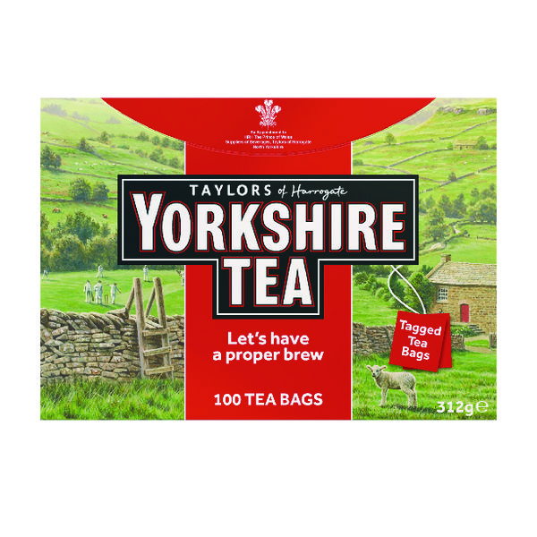 Yorkshire Tea String and Tag Tea Bags (Pack of 100) 2680UK