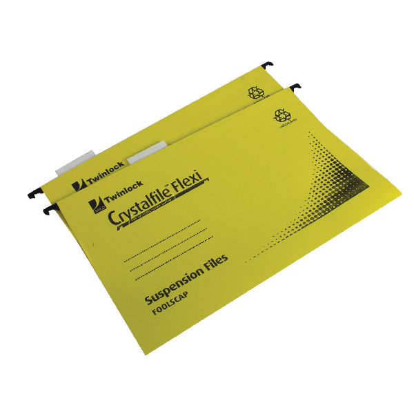 Rexel Crystalfile Flexi Standard Foolscap Yellow (Pack of 50) 3000043