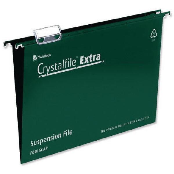 Rexel Crystalfile Extra Suspension Foolscap File Green (Pack of 25) 70628