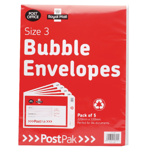 Post Office Postpak Size 3 Bubble Envelopes (Pack of 40) 41631