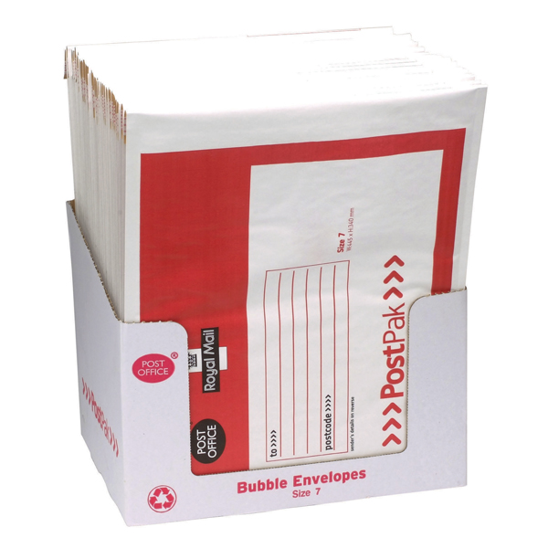 Post Office Postpak Size 7 Bubble Envelopes (Pack of 40) 41613