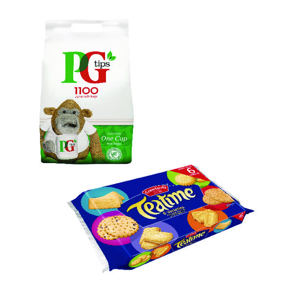 PG One Cup Pyramid Tea Bags Pack of 1100 Plus Free Biscuits